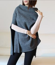 wool cape, minimal gray wool poncho cape, christmas gift idea, discount