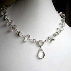 Wedding Jewelry Clear Crystal Quartz Necklace by jewelrybycarmal, $125.00