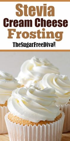 Enjoy this recipe for sugar free cream cheese frosting using Stevia as the sweetener. This is a tasty frosting that easy to make. Sugar Free Frosting, Sugar Free Baking, Sugar Free Desserts, Sugar Free Recipes, Low Carb Desserts, Frosting Recipes, Healthy Desserts, Dessert Recipes, Sugar Free Cupcakes