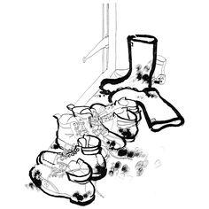 Heart Artist's Agents - Artists - Lucinda Rogers - Galleries - Lucinda Rogers 3 White Pen, Urban Sketchers, Shoe Art, Environmental Art, Drawing Techniques, Gravure, Illustrations, Watercolor Illustration, Line Drawing