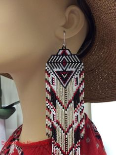 """Seed Beaded Earrings, Name: """"Silver Shivers"""" Brick Stitch Earrings, Seed Bead Earrings, Fringe Earrings, Diy Earrings, Seed Beads, Hoop Earrings, Western Style, Style Cowgirl, Western Wear"""