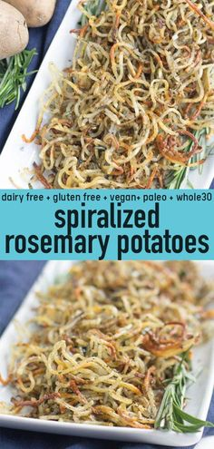 Spiralized Rosemary Potatoes Need an easy, healthy side dish that goes with anything? Try these Spiralized Rosemary Potatoes! They're baked until perfectly crispy, whole paleo friendly and so delicious! y, whole paleo friendly and so delicious! Healthy Sides, Healthy Side Dishes, Side Dish Recipes, Diabetic Side Dishes, Diabetic Snacks, Paleo Menu, Paleo Recipes, Paleo Food, Paleo Dinner