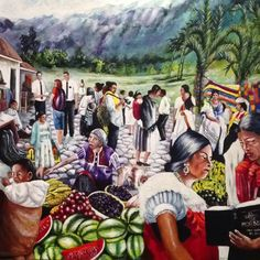 """""""Go ye into all the world"""" by Susana Elcira Bustos Martinez. Oil on canvas. The missionaries extend the message of the Book of Mormon to all the world. In the midst of ter noise and tasks of daily life, the gospel message is transmitted through the work of the missionaries. This artwork depicts daily life in Mesoamerica. Dressed in typical Guatemalan clothing, two women read the Book of Mormon. A vendor of roasted corn takes no notice of the women, nor of the missionaries begin her giving a…"""