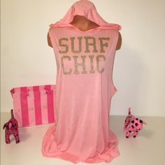 """NEW VS HOODED COVER UP DRESS VICTORIA'S SECRET SWIM COVER UP DRESS GRAPHIC HOODED """"SURF CHIC""""  COLOR Coral  SIZE S AND M AVAILABLE  100% Modal  RETAIL PRICE $49.50  FREE AND FAST SHIPPING!!!  Check out my other items!  I am sure you will find something that you will love it! Thank you for watch!!!!! Victoria's Secret Swim Coverups"""