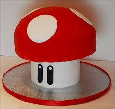 Mario Mushroom Grooms Cake by Cup a Dee Cakes