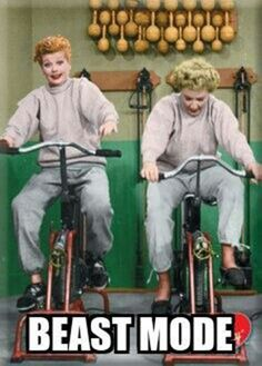 Fitness Humor #105: Beast Mode - Lucy, Lucille Ball, exercise, bike, bicycle
