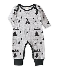 This Athletic Heather & Black Bear Playsuit - Infant is perfect! #zulilyfinds