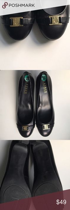 Ralph Lauren Black Business Pumps Black Pumps, perfect for business and/or comfort by Ralph Lauren. Gold Logo plate on front. Cushioned. Size 8. EUC. Ralph Lauren Shoes Heels