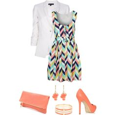 white blazer striped dress, created by divacrafts on Polyvore