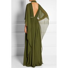 Elie Saab Cape-effect silk-chiffon gown (€6.100) ❤ liked on Polyvore featuring dresses, gowns, open back evening dress, green dress, pleated dress, green leather belt and green pleated dress