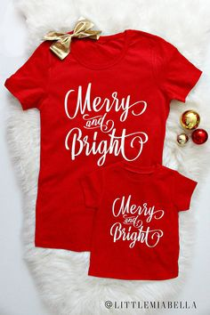 fcc5fa413a7e merry and bright, Christmas shirts, Christmas outfits, mommy and me,  matching shirts, mommy and son, mommy and baby, matching outfits, xmas