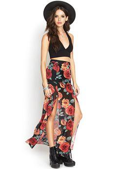Rose Print Maxi Skirt | FOREVER21  #MaxiSkirt #SummerForever #Floral