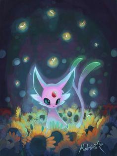 mahsira:   Espeon and the sun flower | The Original Pokemon Community!