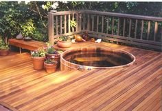 I love the sunken hot tub. Love that its all wood even more!