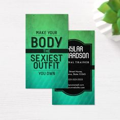 Workout Motivation Health and Fitness Trainer Business Card Improve Yourself, Printing Business Cards, Personal Fitness Trainer, Business Cards, Fitness Instructor, Fitness Trainer, Printed Cards, Fitness, Motivation