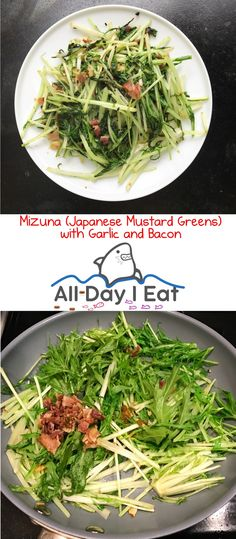 Mizuna (Japanese Mustard Greens) with Garlic and Bacon - All Day I Eat - like a shark Easy Japanese Recipes, Asian Recipes, Healthy Recipes, Ethnic Recipes, Healthy Eats, Gourmet Recipes, Free Recipes, Japanese Diet, Garlic