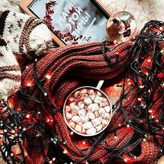 Pinterest: iamtaylorjess | Christmas lights, cozy blanket, and hot chocolate with marshmallows #winter #vibes #Christmas