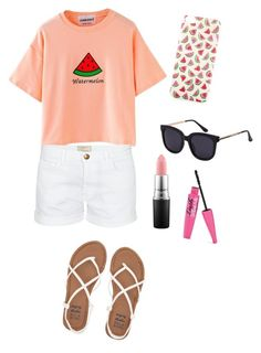 """""""Watermelon!!!"""" by samanthainpanama ❤ liked on Polyvore featuring Accessorize, Billabong, Current/Elliott and MAC Cosmetics"""