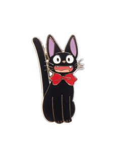 "Kiki's Delivery Service delivers the cutest enamel pin a Jiji fan could ask for. Jiji is paw-dorable in her iconic Studio Ghibli red bow.  Approx. 1 1/2"" x 3/4""Metal; enamel&..."
