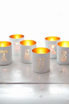 DIY: tin punched votive candles