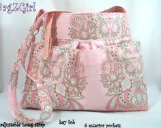 Large Diaper Bag -Aqua Owl-Hushabye-Tula Pink-Vintage Brooch-Tula Pink- Hobo Bag-School - Adjustable Strap