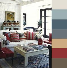 Happy Memorial Day! We're welcoming in summer with this vintage inspired patriotic palette. The rich, but muted, reds and blues anchor the room, while the whites and tans keep it cool and airy. Try mixing fun patterns that are in the same color family to bring some excitement into your space!