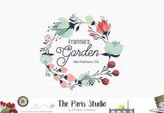 Floral Wreath Restaurant Logo Design for artisan boutique branding, e-commerce website logo, wordpress blog logo, boutique logo, photography branding, wedding logo, website branding design.