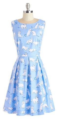Kitten print dress - I love the classic look of this dress & the cats are cute as heck.