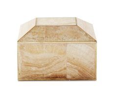 Brass Bordered Stone Box, Small, Sand