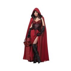 Dark Red Riding Hood Woman Vampire Halloween Costume (1.295 UYU) ❤ liked on Polyvore featuring costumes, vampiress costume, vampire costumes, vampira costume, red costumes and vampire halloween costumes