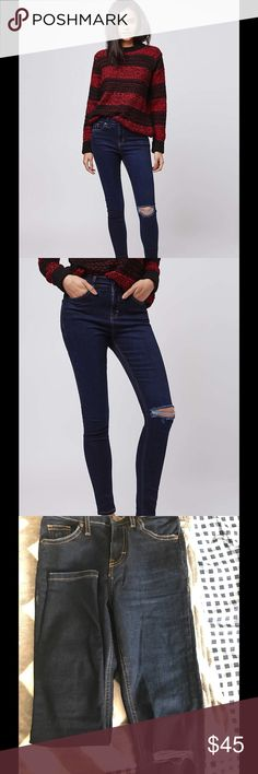 Topshop petite moto dark ink Jamie jeans Topshop Jamie rip jeans. Size: petite W24L28. MOTO super stretch, high waisted, skinny ankle jeans. Dark ink. Worn once. Topshop PETITE Jeans Skinny