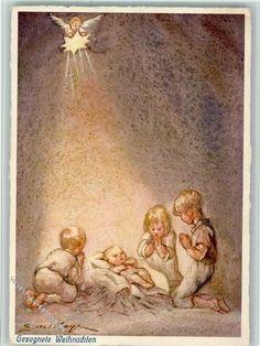 Nr. 382 Verlag Henke - Krippenbild Gesegnete Weihnachten
