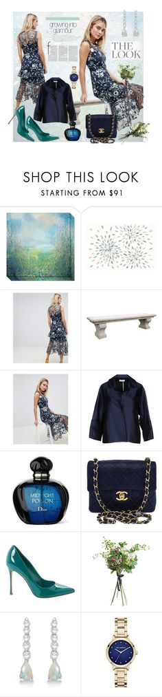 """Floral Embroidered Dress"" by styledirectory ❤ liked on Polyvore featuring Amanti Art, iCanvasART, Warehouse, ROSSO35, Chanel, Sergio Rossi, Wyld Home, Allurez and Karl Lagerfeld"