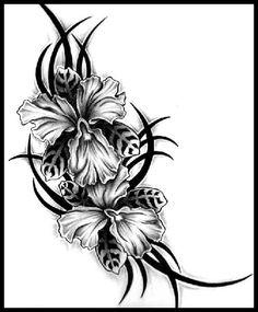 Tribal orchids tattoo