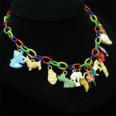 Gumball Charms Necklace Vintage Celluloid Plastic