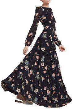 Bateau Collar Floral Print Chiffon Dress