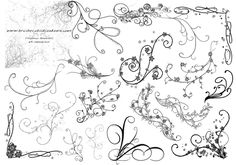 Brushes: 23 Version: Photoshop 7+ (CS's included), Photoshop Elements 2+, GIMP 2.2.6+ A set of brushes made up of various swirls, ornamental designs, and flourishes. Most of these will work great as corner brushes. These are a bit more design oriented than my first swirls set, which was just swirls. These have some flowers added to some, different textures, dots, circles, and various other ornamentations. (A big thank you to Diane Burton, who designed one of the brushes based off a few ...