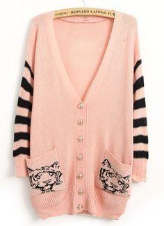 Pink V Neck Striped Long Sleeve Tiger Print Cardigan US$24.43
