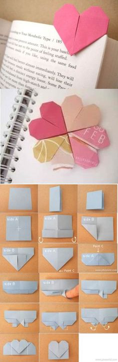 DIY Origami Heart Shaped Bookmark | iCreativeIdeas.com Like Us on Facebook ==> https://www.facebook.com/icreativeideas