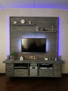 18 Creative Ideas Of Pallet TV Stand – Typical Miracle Living Room Wall Units, Living Room Themes, Living Room Tv Unit Designs, Tv Unit Furniture, Rustic Furniture, Furniture Design, Tv Wall Design, Ceiling Design, Living Room Entertainment Center
