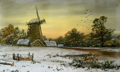 Watercolor, Dutch winter landscape with windmill, signed by Herle