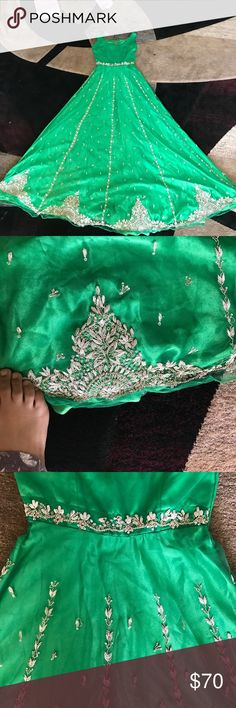 Indian dress This is a beautiful hand beaded Indian dress it was only worn onceit fits a small to medium lady and is just astonishing india Dresses