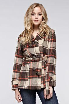 Plaid Wool Peacoat - Brown