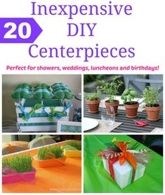 Inexpensive DIY Centerpieces - perfect for any shower, wedding, birthday or luncheon! Events To Celebrate