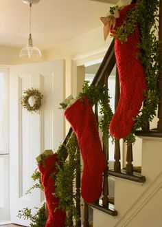 Check Out 41 Impressive Christmas Stairs Decoration Ideas. Less than ten days are left before the main holiday of the year, it's time of miracles and fairy-tales! Noel Christmas, Merry Little Christmas, Primitive Christmas, Country Christmas, Winter Christmas, Christmas Stockings, Xmas, Christmas Ideas, Knit Stockings