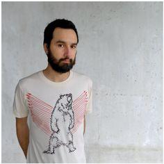 Grizzly bear tshirt - mens fashion - SMALL - tribal bear print with orange arrows on organic cotton - URSA MAJOR.