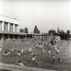 22-09-1966. Afbeelding van de nazomerdrukte in het buitenbad van het zwembad Den Hommel (Kennedylaan 5) te Utrecht.