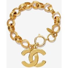 Vintage Chanel Gold Chain Bracelet ($1,490) ❤ liked on Polyvore featuring jewelry, bracelets, accessories, charm jewelry, gold bangles, gold tone charms, gold charms and vintage charm