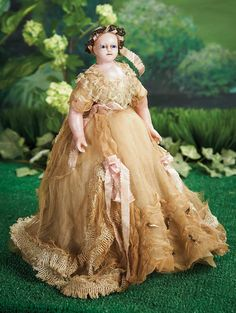 What Frolicks Are Here: 70 English Poured Wax Portrait Doll of Queen Victoria in Original Costume