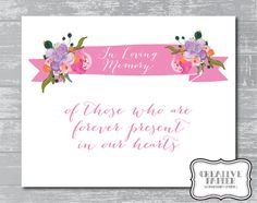 Floral Banner In Loving Memory Sign 8x10 DIY by CreativePapier